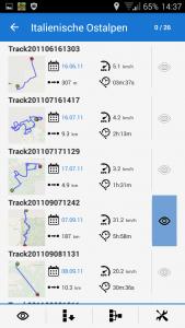 Navigation, Trackverwaltung