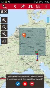 Navigation, Oruxmaps Download-Kartenbereich wählen