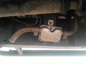 Luftheizung - Auspuff, nach hinten gebogen