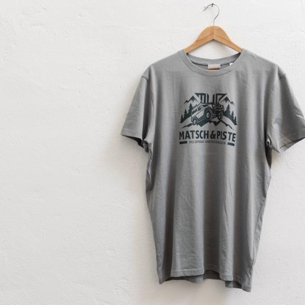 Matsch&Piste T-Shirt mit Logo, steingrau