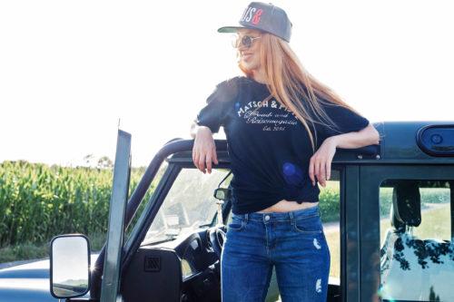 Matsch&Piste T-Shirt mit Vintage-Logo, schwarz