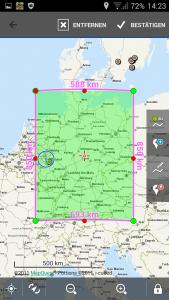 Navigation, Locus Kartendownload, ausgewählter Bereich