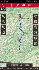 Offroad-Navigation mit Android - OruxMaps Hauptansicht