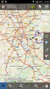 Offroad-Navigation mit Android - Locus Hauptansicht