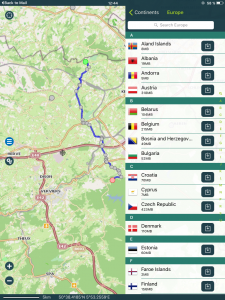 Navigation, Pocket Earth, Länderauswahl Kartendownload