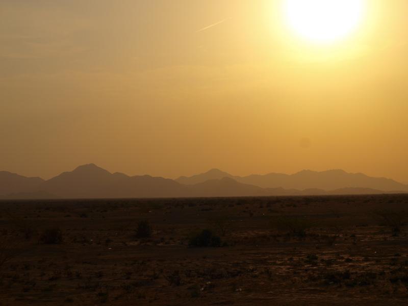 Sonnenuntergang auf dem Weg nach Kassala
