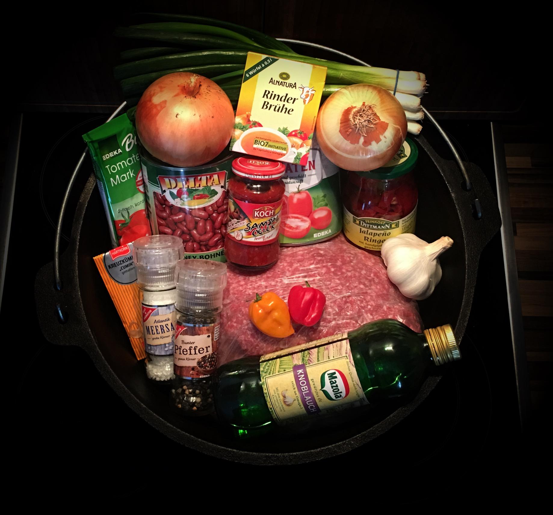 Zutaten Chilli Con Carne im Dutch Oven