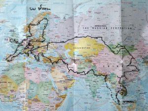 Weltkarte Route