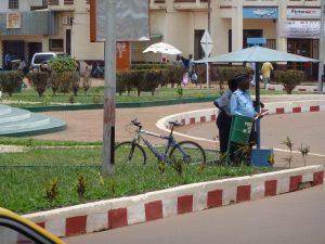 Polizeiposten am großen Kreisverkehr in Bangui