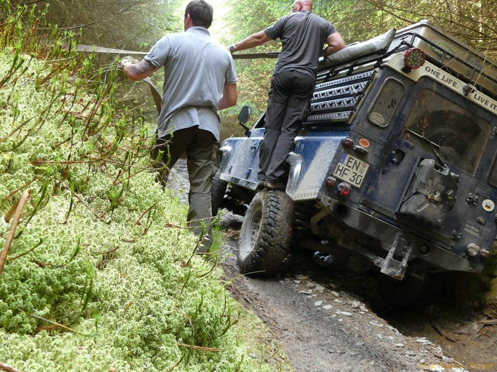 Bastard Lane, Wales - Rüsten für die Schrägfahrt.