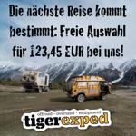 Gutschein über 123,45 bei Tigerexped