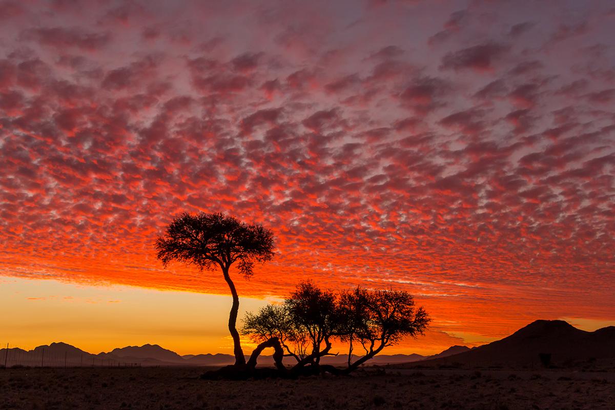 Flammender Abendhimmel über der Namib Naukluft, Foto: Constanze Kühnel, Mantoco