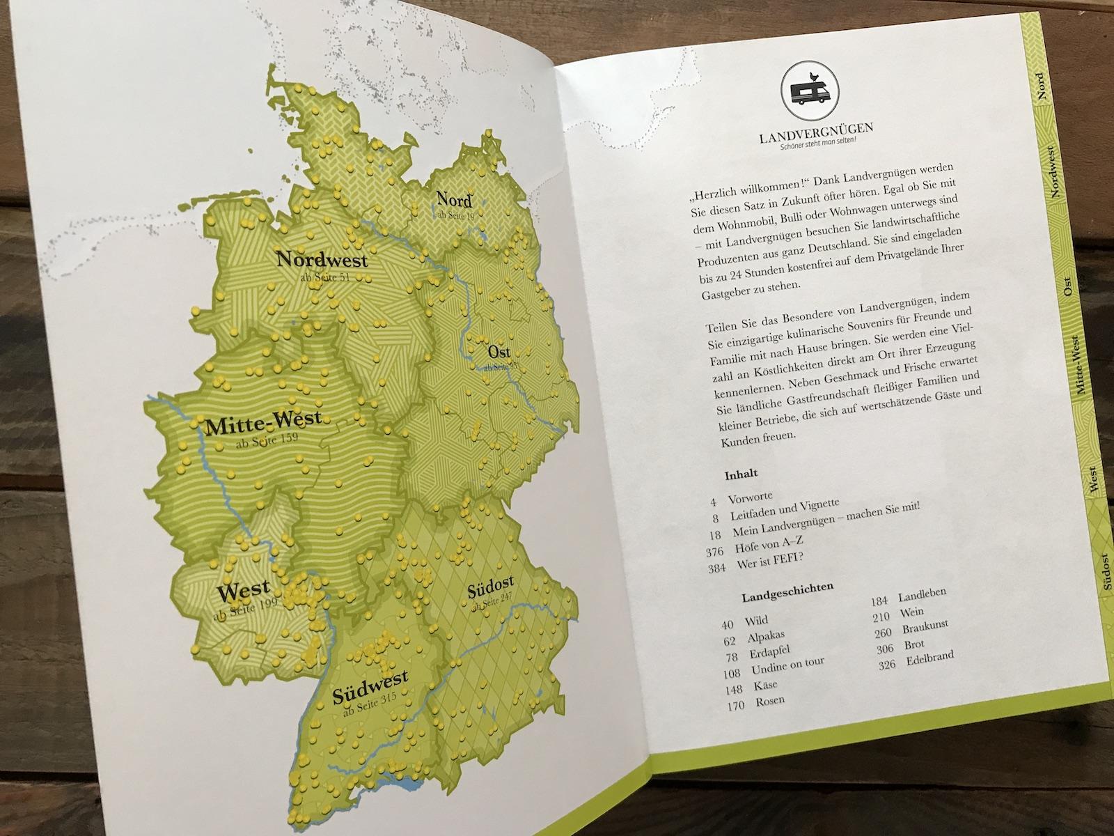 Landvergnügen Stellplatzführer Übersichtskarte