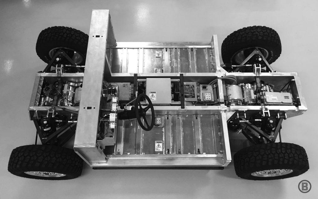 Bollinger B1 - Aluminium-Chassis mit Elektromotoren, Fahrwerk und Batterien.