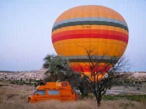 Ballonfahrer in Göreme in der Türkei