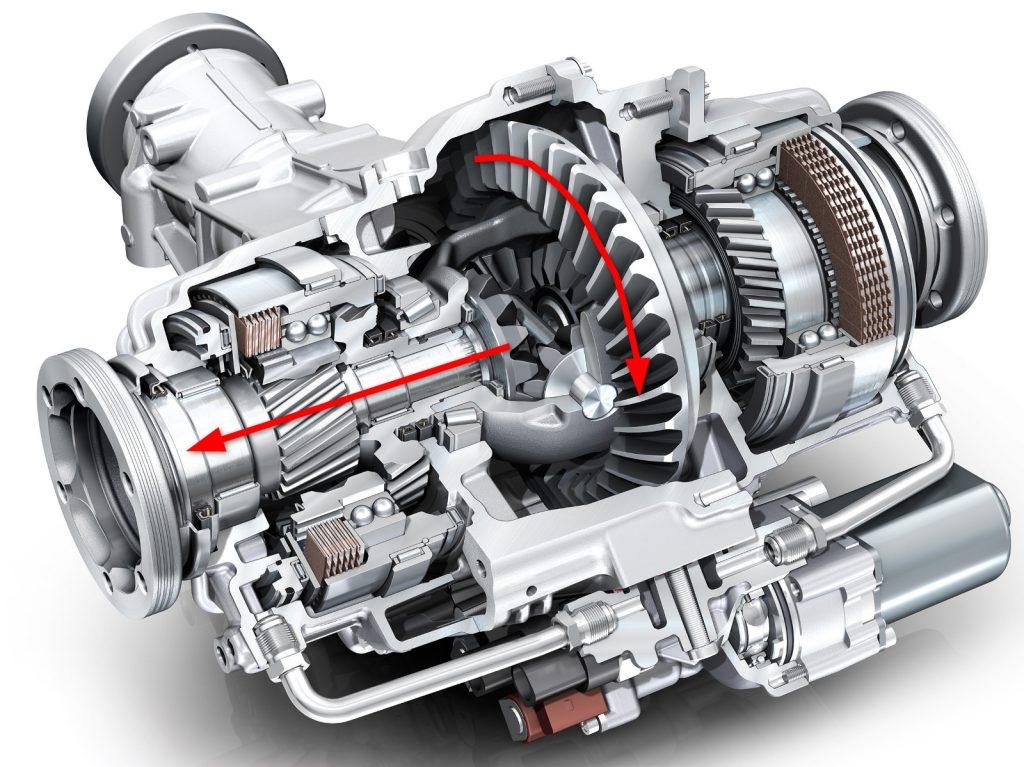 Kraftfluss Sperrdifferenzial, Kupplung, offen. © Foto: Audi AG