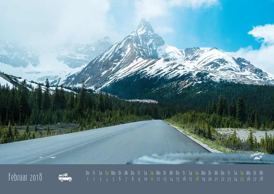 Nordamerikanische Berglandschaft, fotografiert für den The Sunnyside Wandkalender 2018.