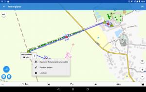 Locus Map Pro - Version 3.26.2 - Ein normaler Routenpunkt kann zu einem Zwischenziel umgewandelt werden.