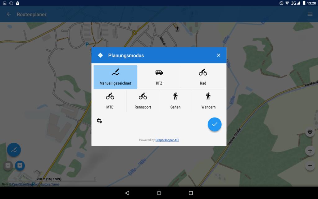 Locus Map Pro - Version 3.26.2 - Es stehen nur mehrere Routen-Profile zur Verfügung.