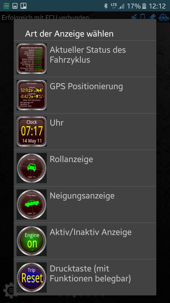 OBD-Diagnose - Stecker und App - Es stehen verschiedene Anzeigearten zur Verfügung.
