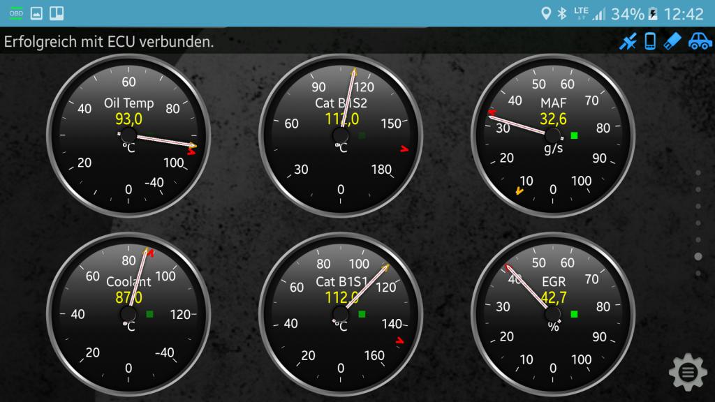 OBD-Diagnose - Stecker und App - Temperaturanzeigen und AGR zusammengefasst.