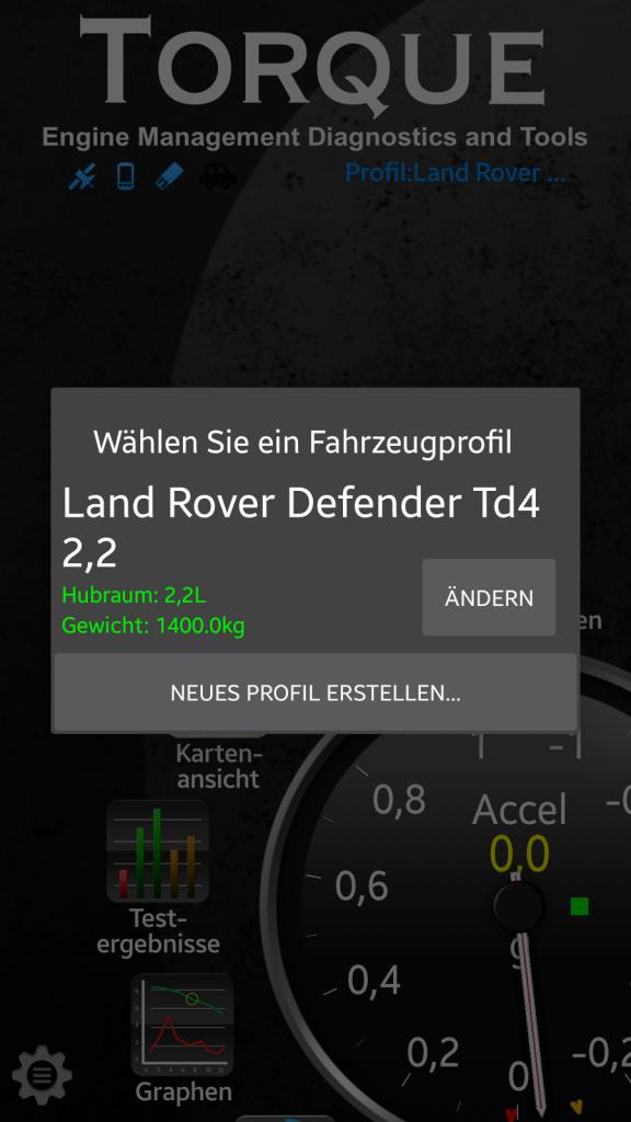 OBD-Diagnose - Stecker und App - Beim Wechsel des Fahrzeugs wird das richtige Fahrzeugprofil ausgewählt