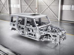 Die neue Mercedes-Benz G-Klasse von 2018 - 170 kg leichter, dennoch stabiler. Dank neuer Produktionsverfahren und Materialien.