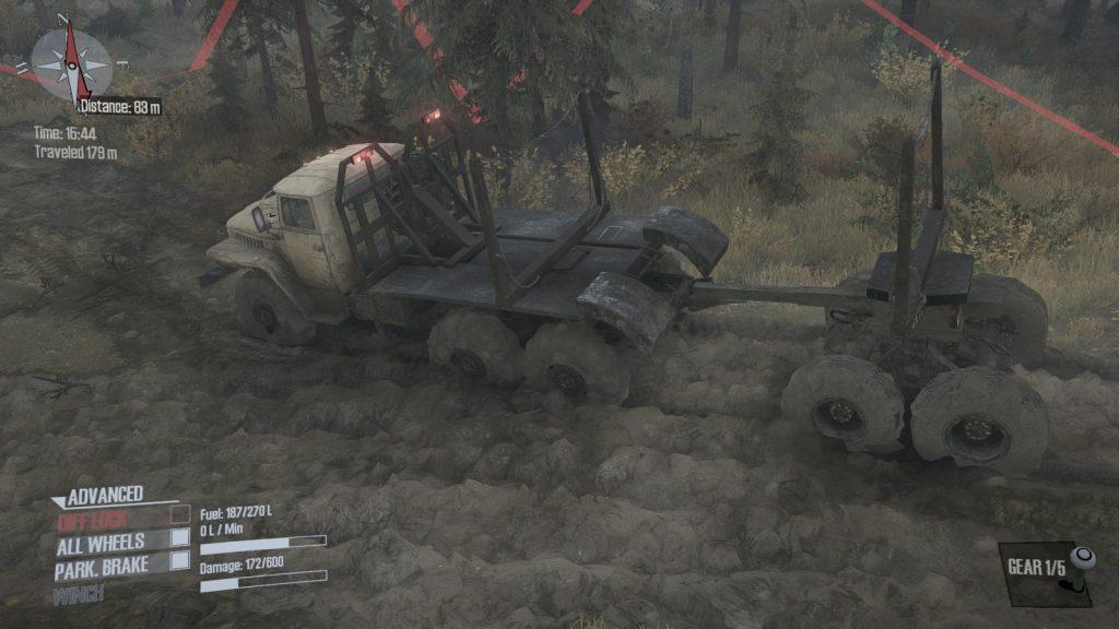 Spintires MudRunner - Der Truck auf dem Weg durch Sibirens Wälder.