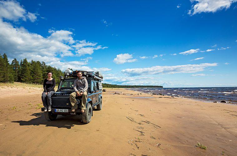 Nordwärts – 12.000 Kilometer durch Karelien, Finnland und Russland. - Am Ufer des Ladogasees.