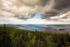 Nordwärts – 12.000 Kilometer durch Karelien, Finnland und Russland. - Ausblick vom Ukko-Koli auf den riesigen Pielinen-See.