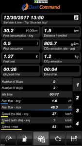 Vgate iCar 3 WiFi OBD2-Diagnosegerät - Dashboard Reiseparameter.