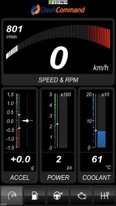 Das Dashboard mit den aktuellen Daten. - Standarddashboard für die Fahrt.