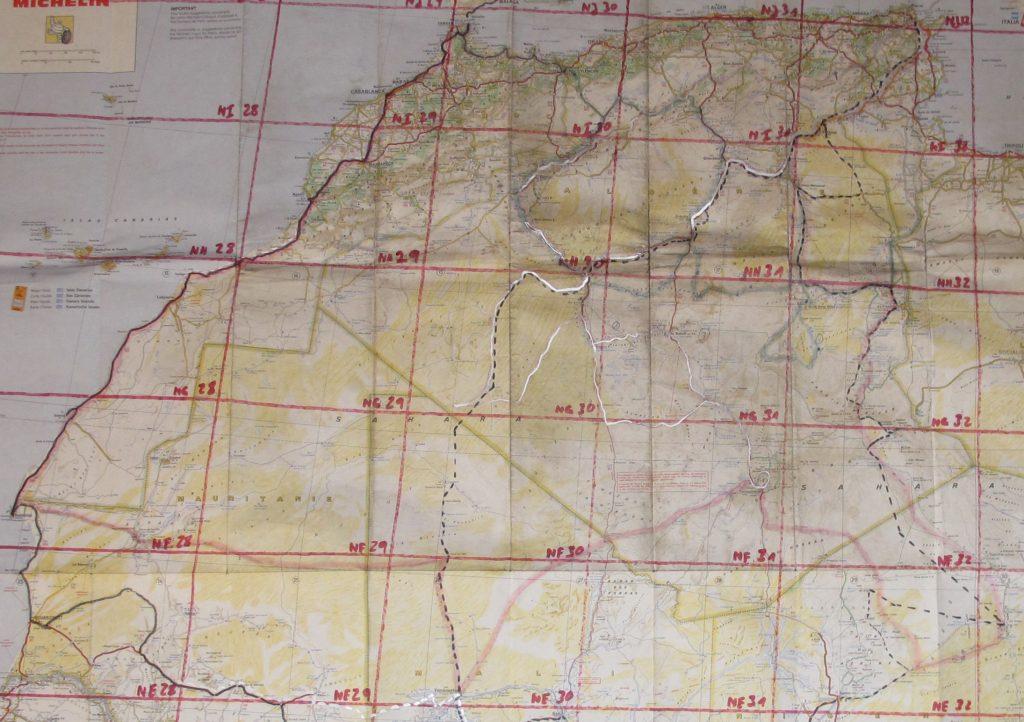 © H.C. Maurer - Die gute Michelin 953-Karte. Das Original der Reise mit der eingezeichneten Strecke (rosa) und IGN-Blattschnitten.