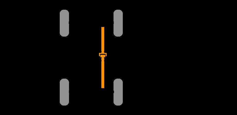 Prinzipzeichnung: manuell zuschaltbarer Allradantrieb, Hinterachse permanent angetrieben.