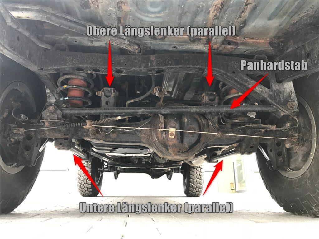 Achskonzepte 03 - Four-Link-Hinterachse mit parallelen Lenkern und Panhardstab (Nissan Navara).