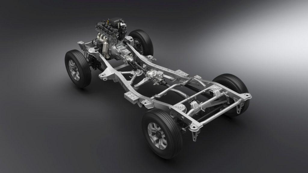 Suzuki Jimny 2018 - Der verstärke Leiterrahmen mit neuer X-Verstrebung.