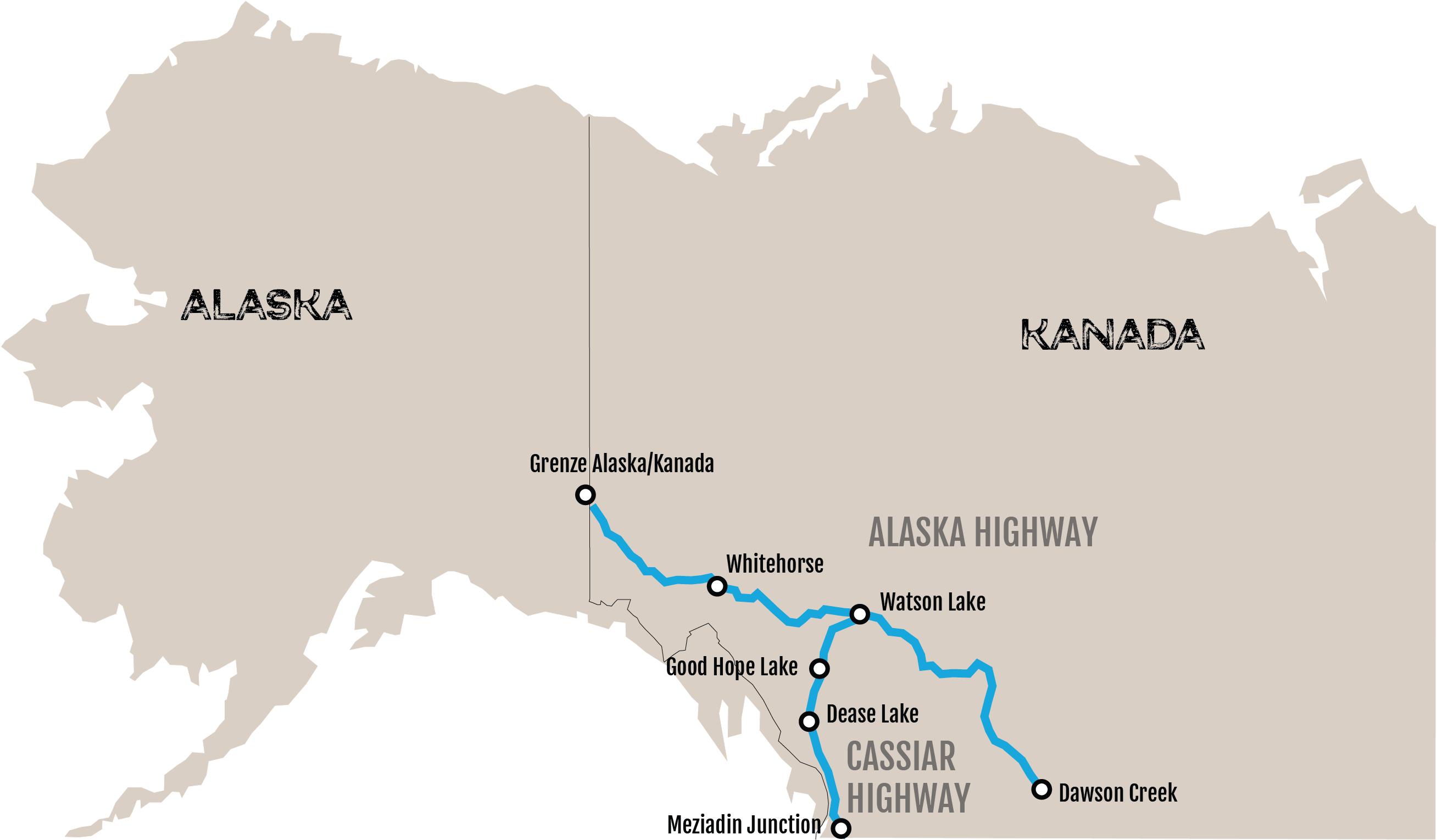 Alaska-Karte Cassiar Highway Alaska Highway Kanada