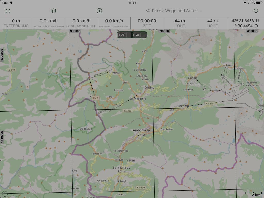 Gaia GPS - Der Arbeitsbereich sauber, und aufgeräumt.