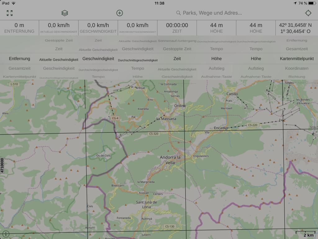 Gaia GPS - Acht frei konfigurierbare Anzeigen.