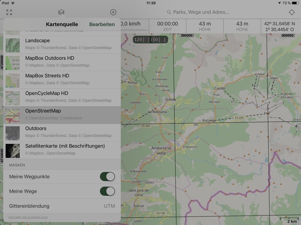 Gaia GPS - Auswahl der aktiven Karten.