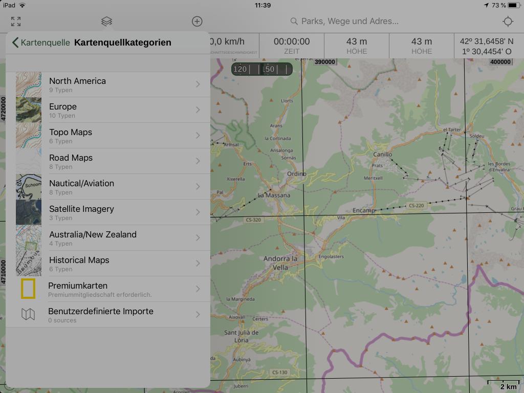Gaia GPS - Es stehen mehrere Kartentypen zur Auswahl.