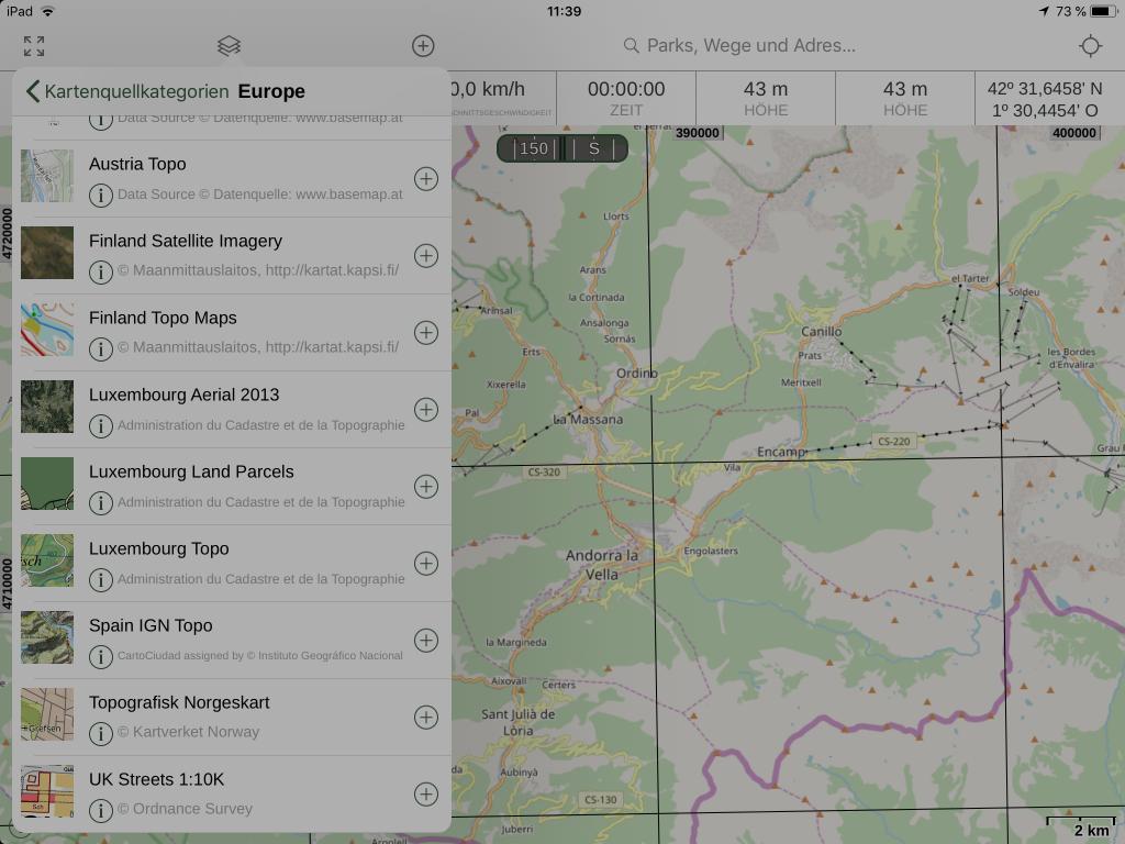Gaia GPS - Weitere Kartenanbieter können hinzugefügt werden.