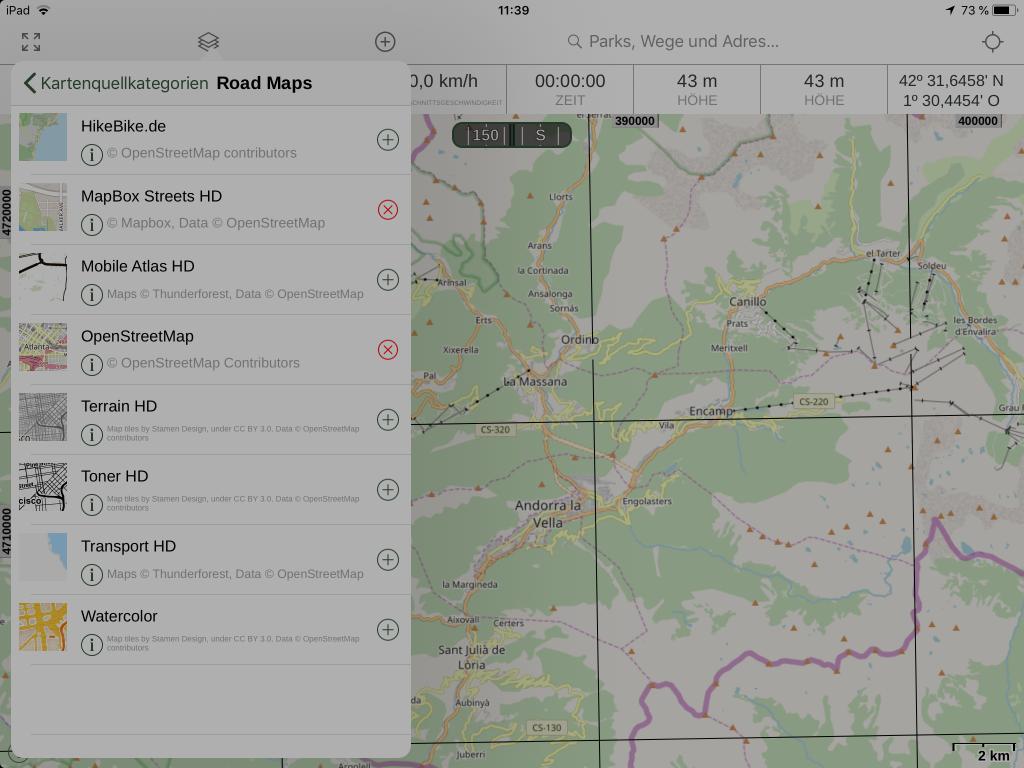 Gaia GPS - Zur Nutzung ausgewählte Online-Karten.