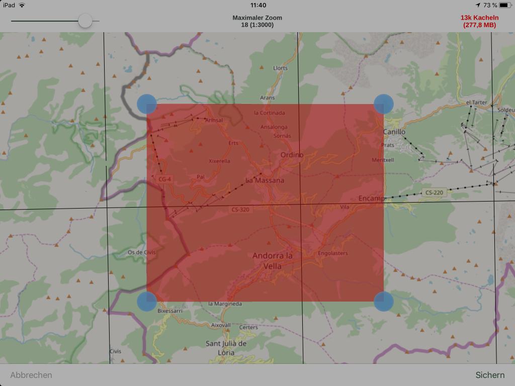 Gaia GPS - Kartenkachel-Download per Bereichsauswahl.