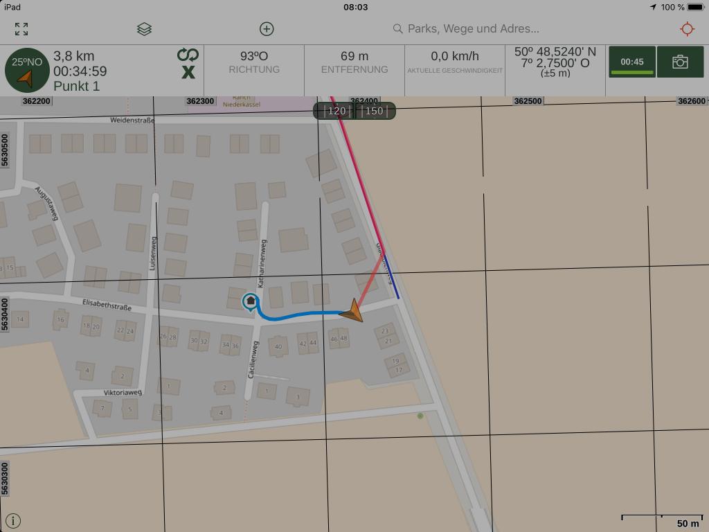 Gaia GPS - Der geplanten Route folgen - unabhängig vom Internet.