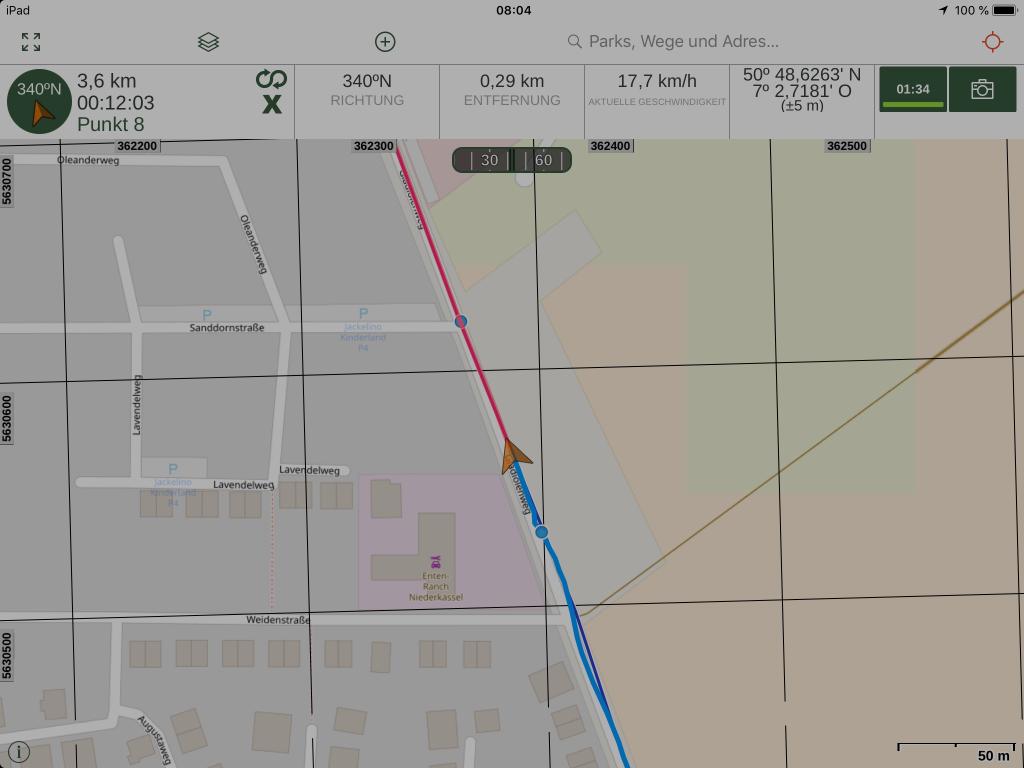 Gaia GPS - Einem Track nachfahren und gleichzeitig aufzeichnen - nicht in jeder App möglich.