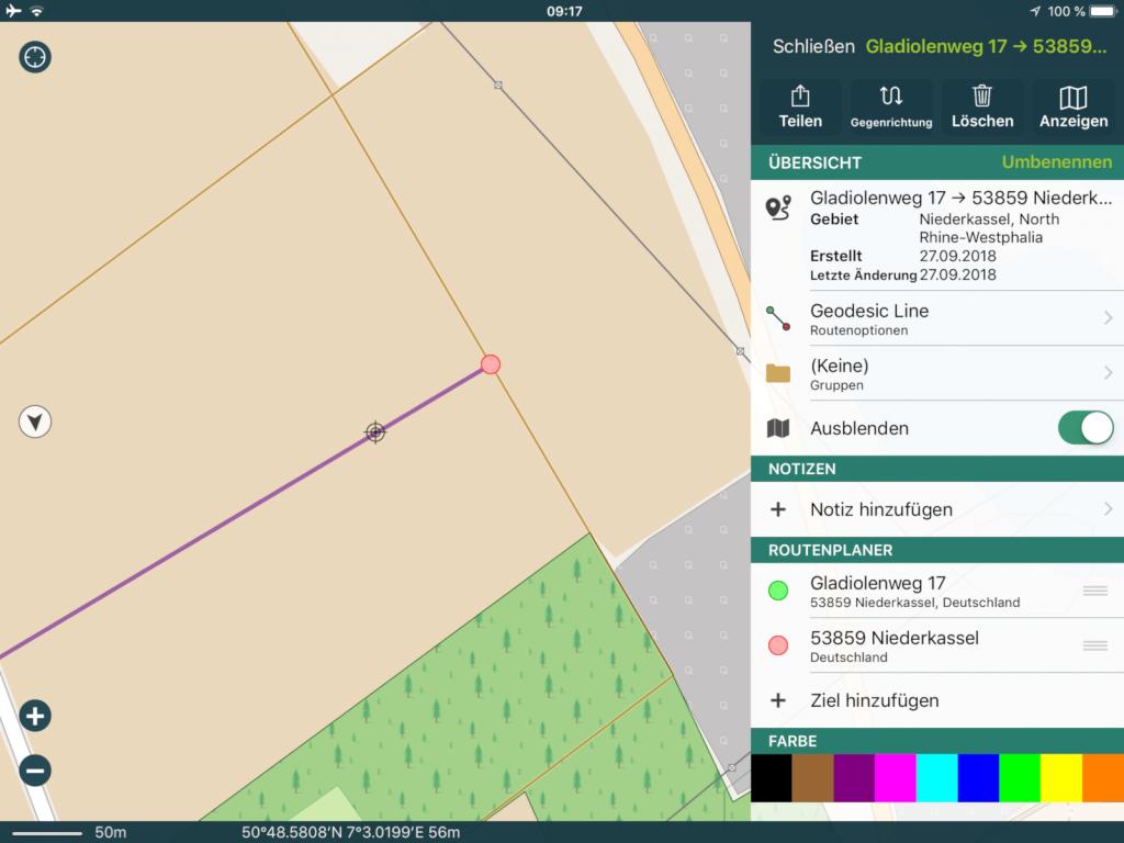 Pocket Earth Pro 3.6 - Nervt: Der Wegpunkt wird zuerst immer auf einen Weg gesetzt.