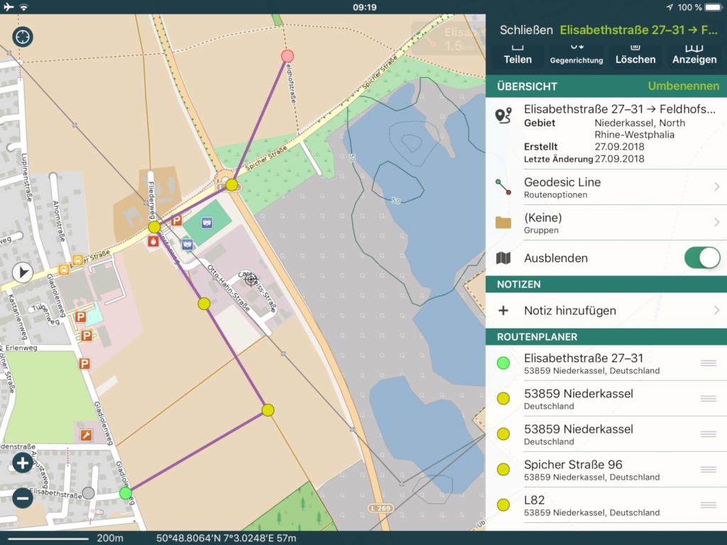 Pocket Earth Pro 3.6 - Zuerst werden die Punkte auf routingfähige Wege gesetzt.