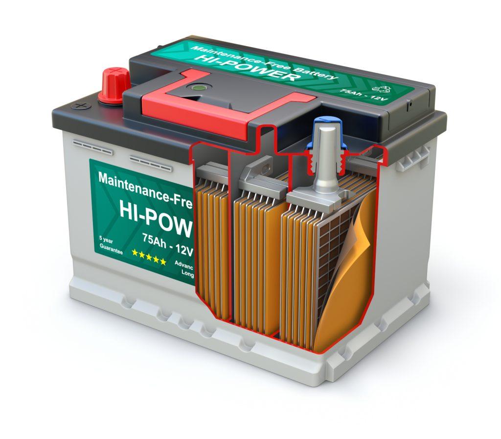 """Autobatterie - Innerer Aufbau eines """"nassen""""Blei-Säure-Akkus."""
