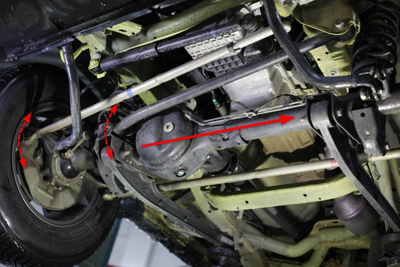 Da Panhardstab und Lenkstange gleich angeordnet sind, erfolgt der seitliche Ausgleich für die Lenkung automatisch.
